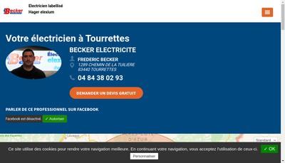 Site internet de Becker Electricite