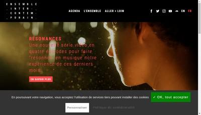 Site internet de Ensemble Inter Contemporain