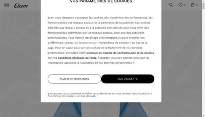 Site internet de Etam