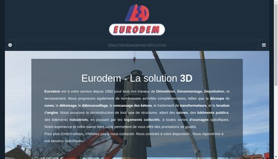 Site internet de Eurodem Desamiantage