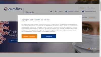Site internet de Eurofins Biomnis