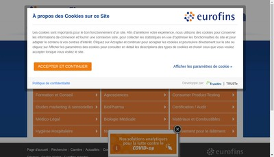 Site internet de Eurofins Prelevement pour le Batiment Ile de France