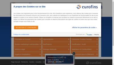 Site internet de Eurofins Hydrologie Idf