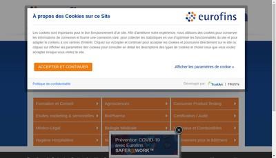Site internet de Eurofins Analyses pour le Batiment Ouest