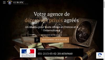 Site internet de Europic Detectives