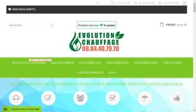 Site internet de Evolution Chauffage
