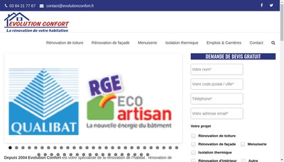 Site internet de Evolution Confort