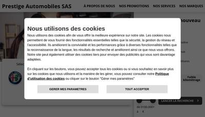 Site internet de Prestige Automobiles SAS