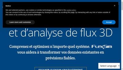 Site internet de Flexsim Solutions Logicielles