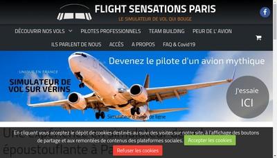 Site internet de Flight Sensations