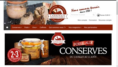 Site internet de Conserverie Artisanale Larroque