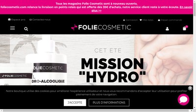 Site internet de Folie Cosmetic