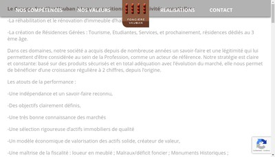 Site internet de Fonciere Vauban