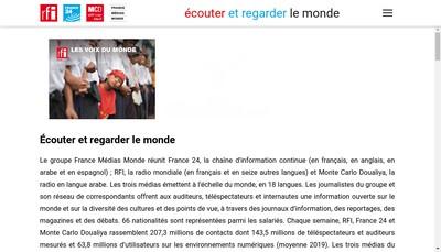 Site internet de France Medias Monde
