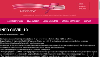 Site internet de SA Transports Francony