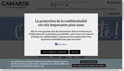 Site internet de Laboratoires Dermatologiques Gamarde