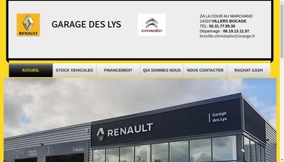 Site internet de Garage des Lys