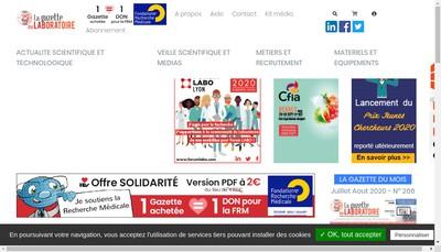 Site internet de LA GAZETTE DU LABORATOIRE