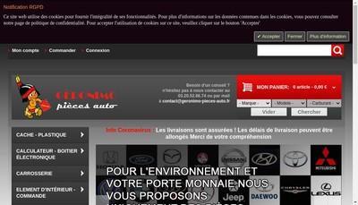 Site internet de Geronimo Pieces Auto