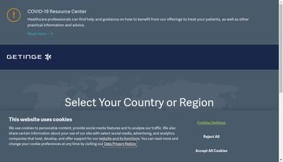 Site internet de Getinge Lancer