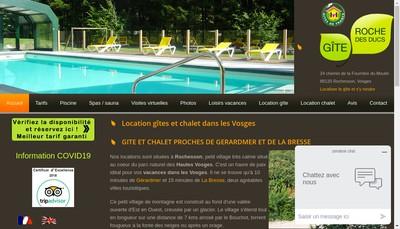 Site internet de Gite Roche des Ducs