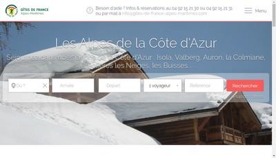 Site internet de Gites de France et Tourisme Vert des Alpes-Maritime