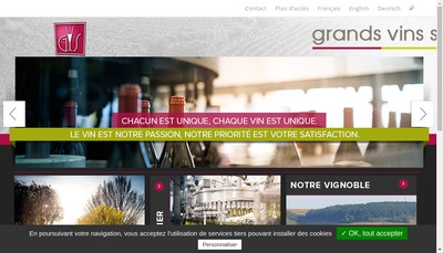 Site internet de Cave de Vigne Caves Garnier Borget 1752 Signature Wines Villa Harmonia Madame Veuve Point