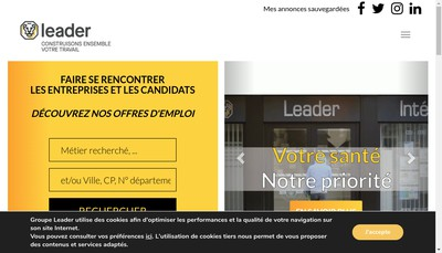 Site internet de Leader Interim 27