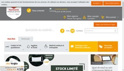 Site internet de Harmonie Medical Service