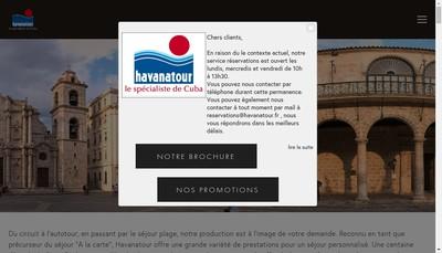 Site internet de Havanatour Paris