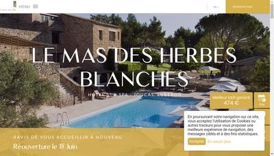 Site internet de Hotel le Mas des Herbes Blanches
