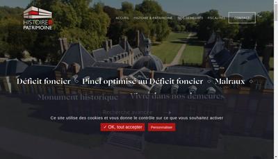 Site internet de Histoire & Patrimoine Renovations
