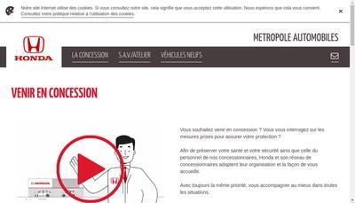 Site internet de Metropole Automobiles