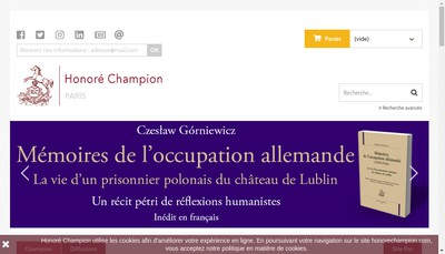 Site internet de Editions Honore Champion