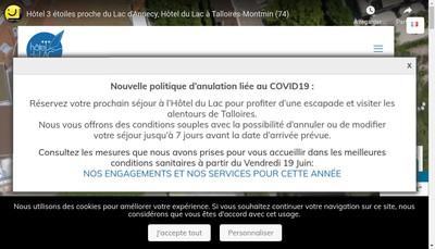 Site internet de Hotel du Lac