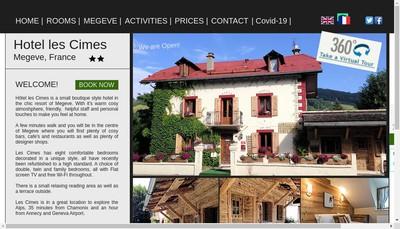 Site internet de Hotel les Cimes