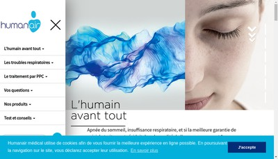 Site internet de Humanair Medical
