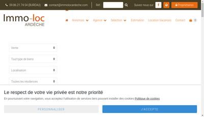 Site internet de Immo-Loc Ardeche