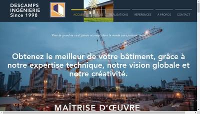 Site internet de Descamps Ingenierie
