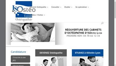 Site internet de Isosteo Lyon, Institut Superieur d'Osteopathie Lyon