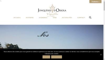 Site internet de Jonqueres d'Oriola Vignobles