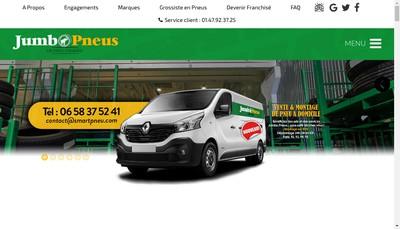 Site internet de Jumbo Pneus