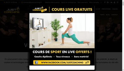 Site internet de Just Coaching, Just Training, Just Boxing, Just Workout