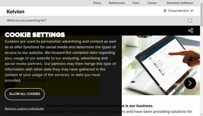 Site internet de Kelvion Thermal Solutions