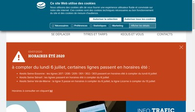 Site internet de Keolis Seine Senart