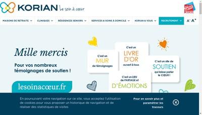 Site internet de Korian les Arcades