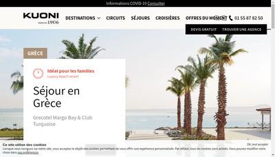 Site internet de Kuoni Destination Management Travel France