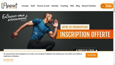 Site internet de L'Appart Fitness