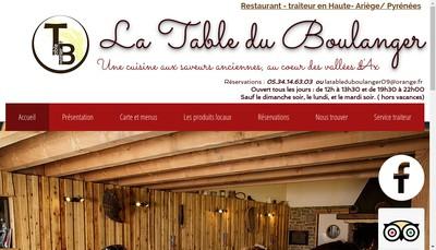 Site internet de La Table du Boulanger