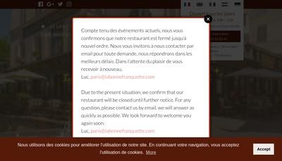 Site internet de La Bonne Franquette 2